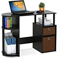 Furinno Jaya Computer Study Desk With Bin (Brown)