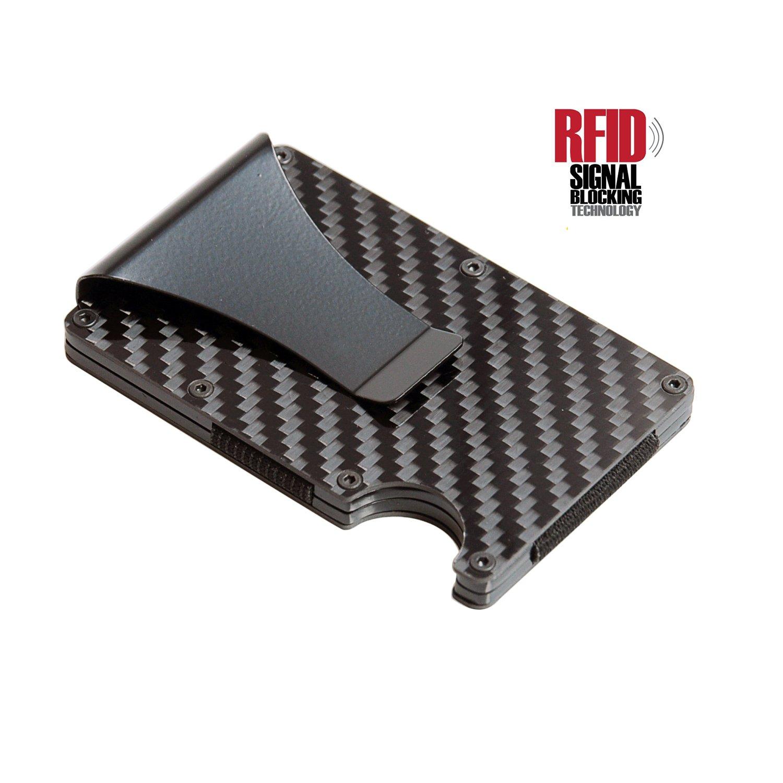 Minimalist Carbon Fiber Slim RFID Wallet, Business Card Holder with Money Clip by Blue Hunter