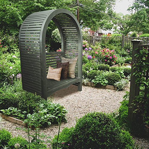 European Garden Living ADELXXG01 Adelaide  Contemporary Arbor With A Bench, Dove - Garden Bench Arbor