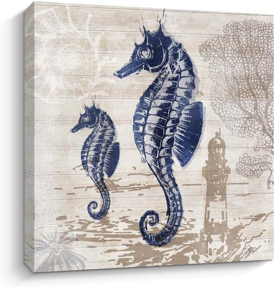 Pinetree Art Seahorse Wall Art Bathroom Decor Painting on Canvas Swimming in The Ocean for Home Decor(Seahorse, 12 x 12 inch)