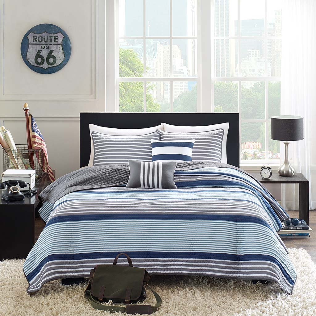 Intelligent Design Paul Full/Queen Size Teen Boys Quilt Bedding Set - Blue Grey, Striped – 5 Piece Boys Bedding Quilt Coverlets – Ultra Soft Microfiber Bed Quilts Quilted Coverlet JLA Home ID80-407