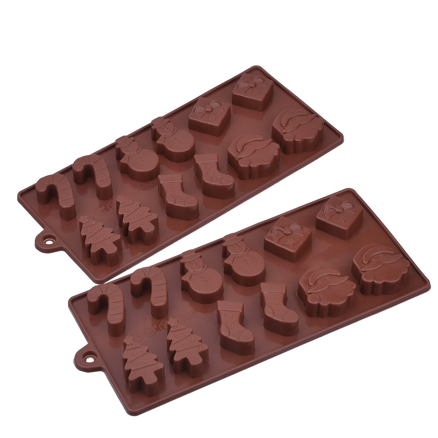 2 Pack Silicone Christmas Chocolate Molds, Cake Candy Jelly Ice Tray Mould, Coffee Mudder