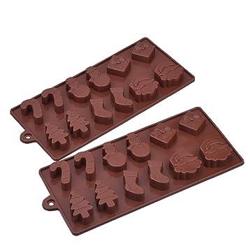 Moldes de Silicona de Chocolate de Navidad, Molde de Bandeja de Pastel Caramelos Jaleas Helados, Color de Café: Amazon.es: Hogar