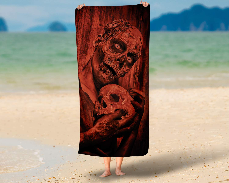 LimeWorks Toalla de Ba/ño 70x140 cm Zombie de Terror con Calavera