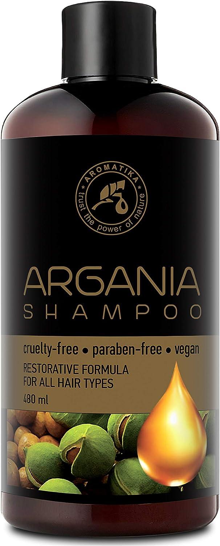 Aceite de Argan 480ml - Shampoo con Aceite de Argán Natural y Extractos de Hierbas - para Todo Tipo de Cabello - Fórmula Reparadora Especial para Hombres - Cuidado del Cabello - Argan Oil Champu