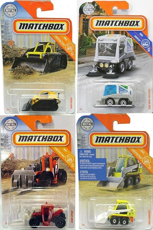 Matchbox City Construction Tractor Mini Trucks Set 2019 4 Unidades de vehículos incluidos con Limpiador de Calles Swisher / Skidster / Levantador de Carga / Mini Bulldozer Amarillo 4 artículos: Amazon.es: Juguetes y juegos