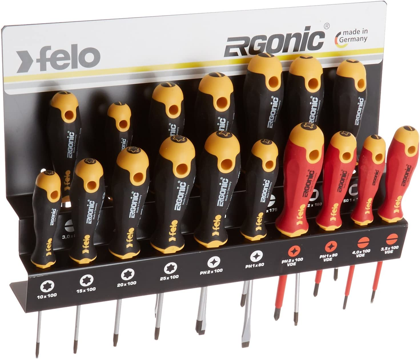 Felo 0715761391 Ergonomic Screwdriver Set With Steel Rack includes Slotted