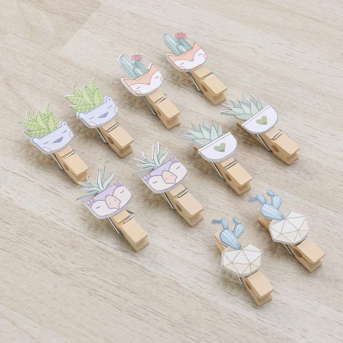 Amosfun Clip per Foto in Legno Flower Craft Pins per Pasqua Festa di Nozze Foto Memo Card con Corda di Canapa 10pz