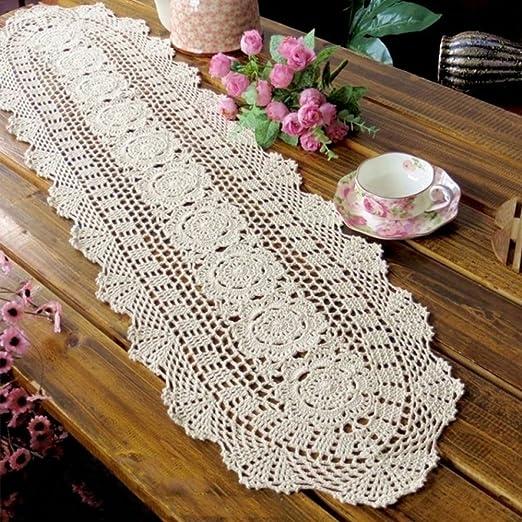 yazi Beige Flores Camino de Mesa Oval Mano Crochet manteles ...