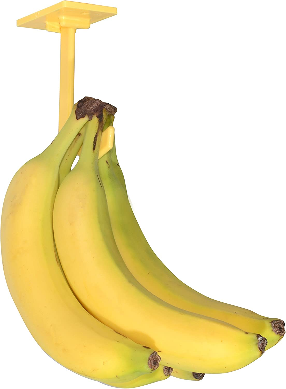 Banana Hanger – Under Cabinet Hook for Bananas or Other Lightweight Kitchen Items. Hook Folds-up When Not in Use. Self-adhesive and Pre-drilled Holes (Screws Provided!) Keep Bananas Fresh.(Yellow)