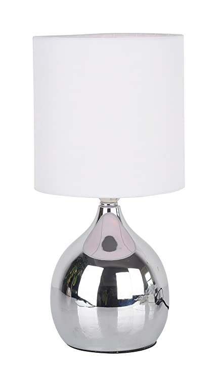 Modern Touch Lamp Lounge Bedside Table Lights Lamps Chrome Finish (White)