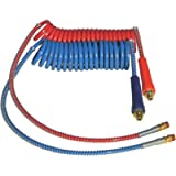 COILED AIR SET LINE ASSEMBLY RED & BLUE TRUCK TRAILER SET WITH DURA-GRIPS, 15' LENGTH: 1 X 12' & 1 X 40' LEADS