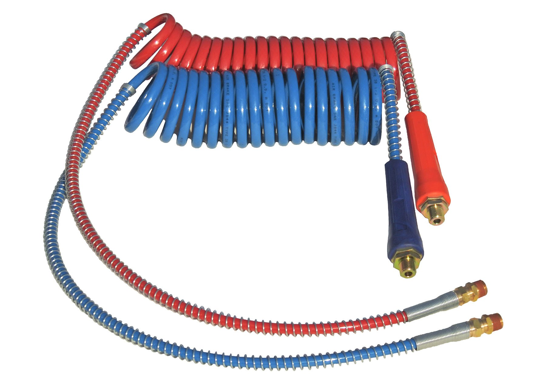COILED AIR SET LINE ASSEMBLY RED & BLUE TRUCK TRAILER SET WITH DURA-GRIPS, 15' LENGTH: 1 X 12'' & 1 X 40'' LEADS by Road King Truck Parts