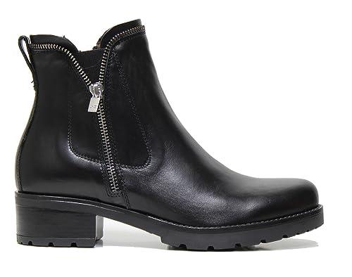 Nero Giardini A719890D scarpe donna tronchetto biker pelle nero
