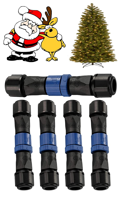 ChristmasStringsLightWaterproofElectricalJunctionBox,5PCS 2PinM15AviationPlug24-16AWGElectricalCableWireQuick-DisconnectConnectorforChristmasTreePlantLights