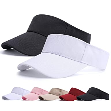 395ff16bb BLURBE Sun Visor Cap - 1/2 Women Ponytail Baseball Cap, Washed Outdoor  Trucker Hat Plain Dad Cap, Adjustable Twill Golf Tennis Visor Hats for Men