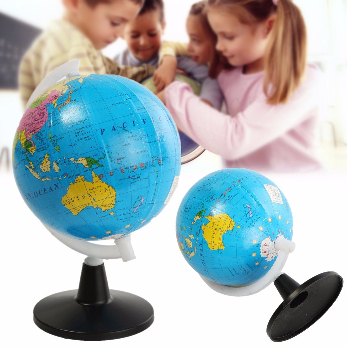 Bazaar 8.5cm World Globe Atlas Map With Swivel Stand Geography Educational Toy Home Decor Gift Big Bazaar