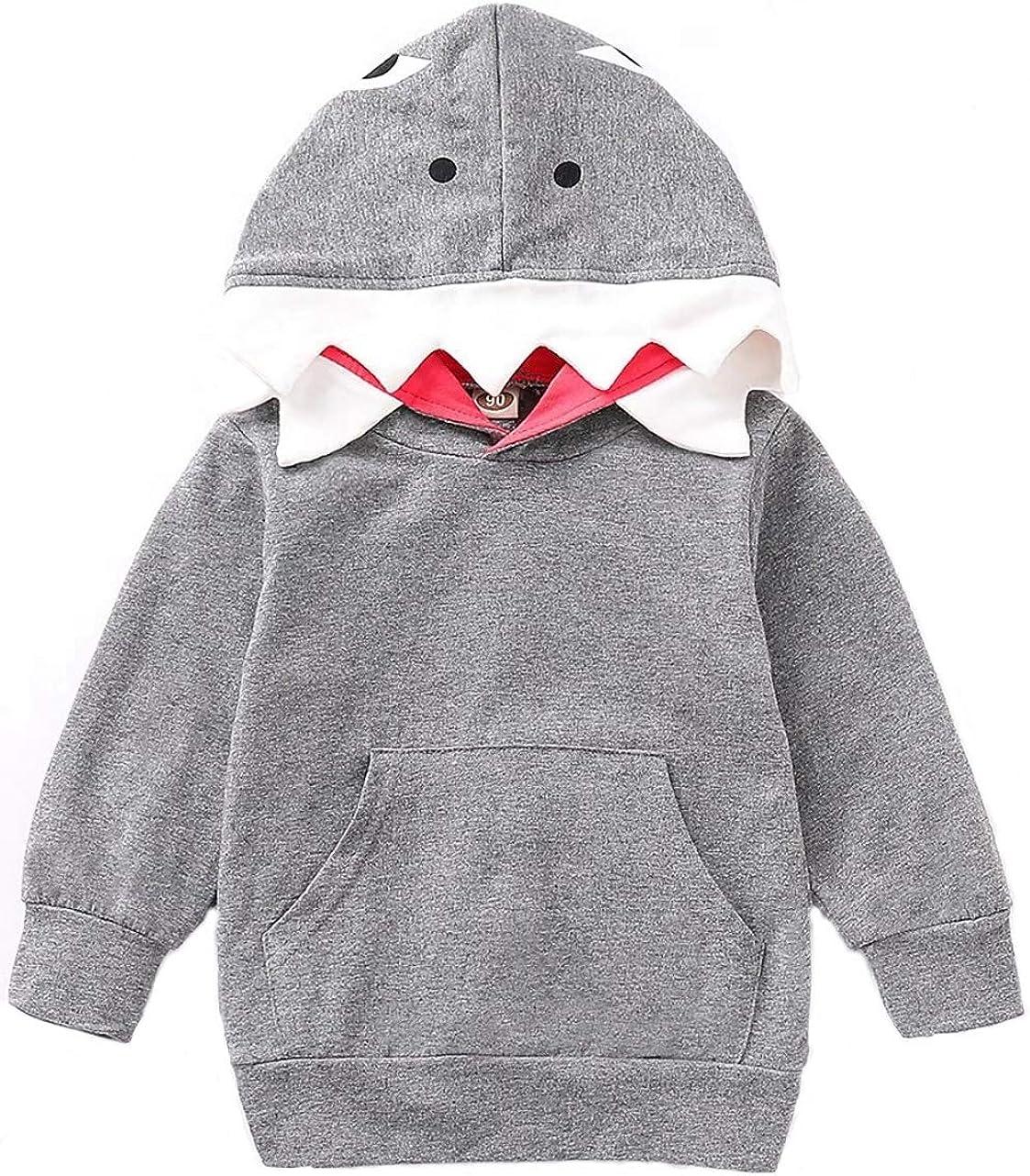Kids Toddler Boy Girl Long Sleeve Shark Hoodie Sweatshirt Hooded Tops with Pocket 1-5T