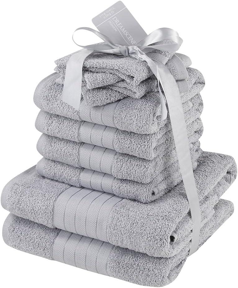 Dreamscene – lujo 100% algodón egipcio 10 piezas juego de toalla de baño Set de regalo de baño de cara mano, plata gris, 10 unidades): Amazon.es: Hogar