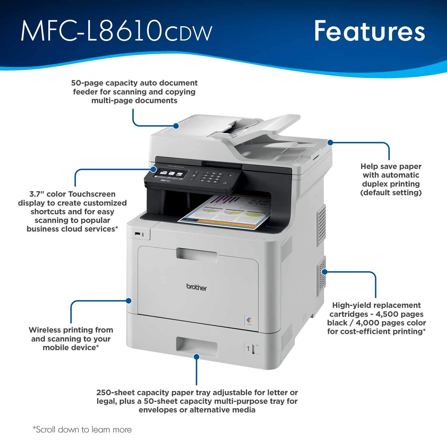 Impresora Brother MFCL8610CDW Business Color Laser Todo en uno con ...