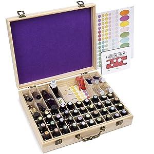 72 Bottle Wooden Essential Oils Storage Box with Handle, 64 Slot for 5-15ml Essential Oils & 8 Slot for 10ml Roller Bottles