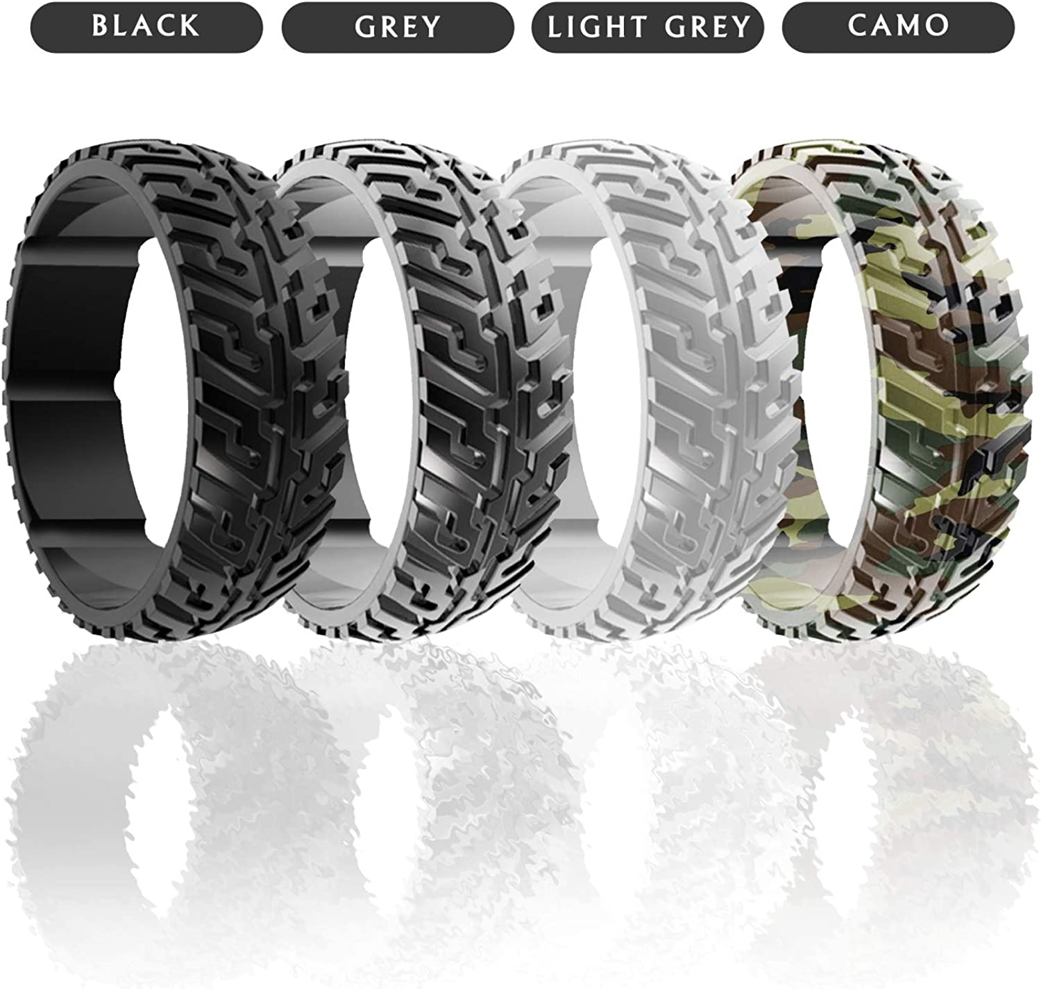 8.7 mm Wide Silicone Rings for Men Silicone Rings Breathable Silicone Wedding Bands with Groove for Protection from Extreme Conditions Tire Tread Design Rubber Wedding Bands for Men