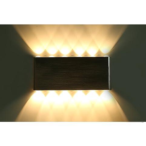 Glighone 36W LED Wandleuchte Innen Modern Wandlampe Flurlampe Silber  Aluminium Warmweiß Rechteckig Für Wohnzimmer Schlafzimmer Küche