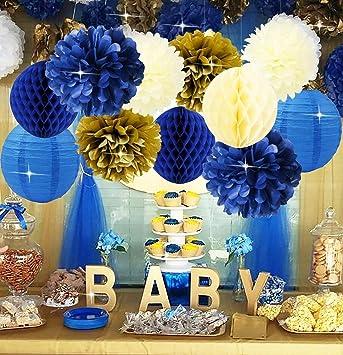 Furuix Navy Cream Gold Bridal Shower Decorations Tissue Pom Pom