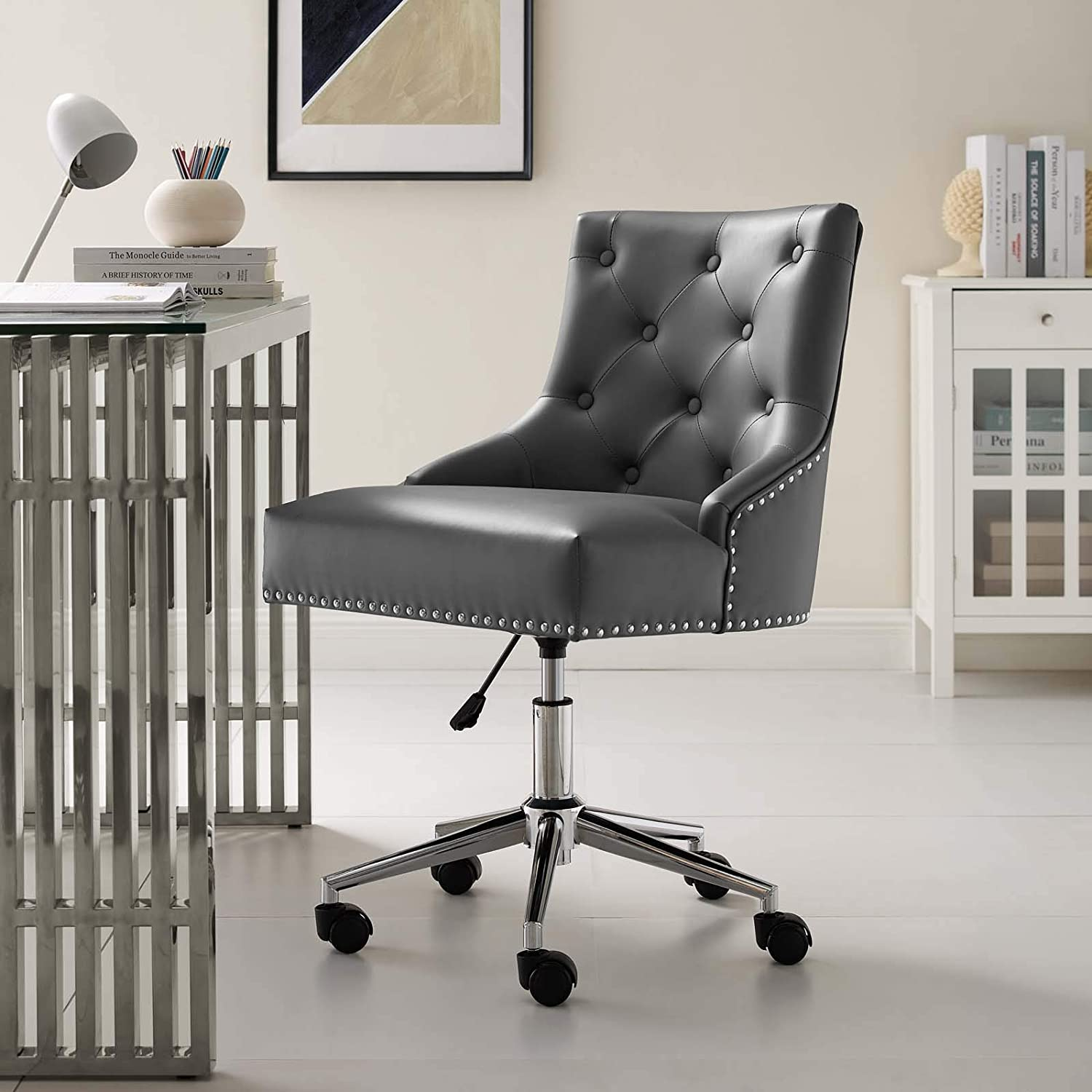 Modway Regent Tufted Button Faux Leather Swivel Office Chair with Nailhead Trim in Gray