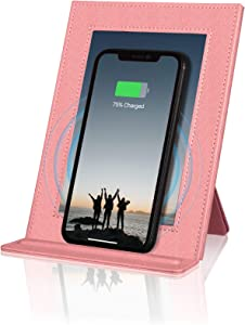 PROXA Wireless Charger Photo Frame, Qi Enabled Fast Charger Up to 7.5W for iPhone 11/11Pro/11Pro Max/XS/XS Max/XR, 10W for Galaxy Note 10+/10/9/8/S10+/S10e /S10-Peach Pink-No AC Adapter