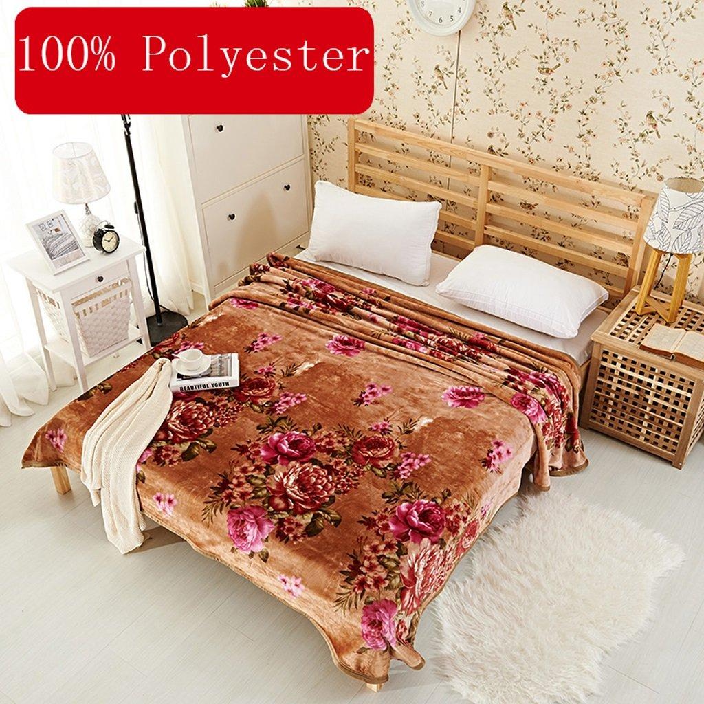 Kuscheldecken HMLIFE Braune Decke Warme Decke Pflanze Blumenmuster Schlafzimmer Bettdecke Decke Freizeitdecke Reise Decke Polyester Material (größe   150  200cm)
