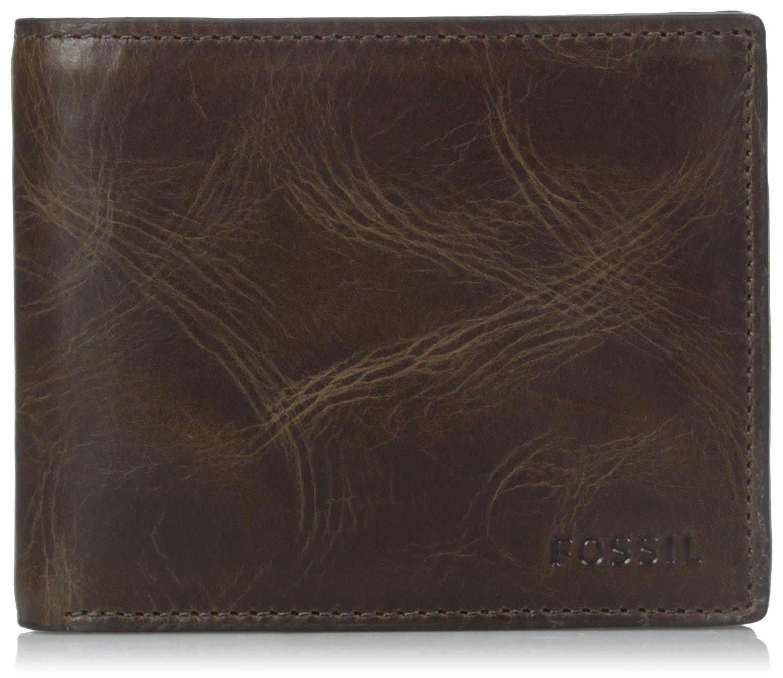 Fossil Men's Leather RFID Blocking Bifold Flip ID Wallet, Dark Brown, One Size