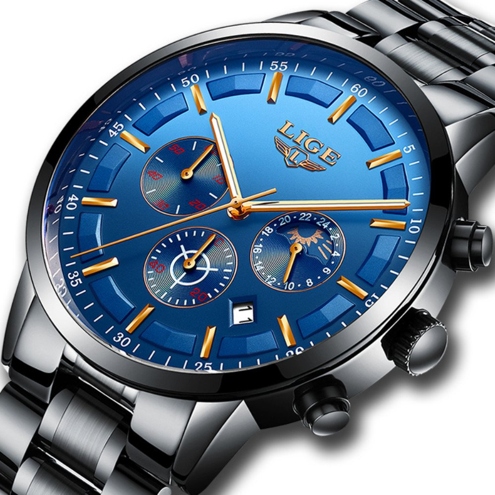 Mens Stainless Steel Blue Classic Luxury Casual Watches with Multifunctions Chronograph Sport Watches Waterproof 30M Moon Phase Business Fashion Quartz Wrist Watch for Men by SUNMEI