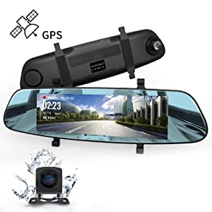 "Mirror Dash Cam, DuDuBell 7"" Backup Camera with External GPS, 1080P Front and 720P Rear Camera with Starlight Night Vision IPS Touch Screen 290° Wide Angle, Reverse Assistance Parking Monitor HDR+"