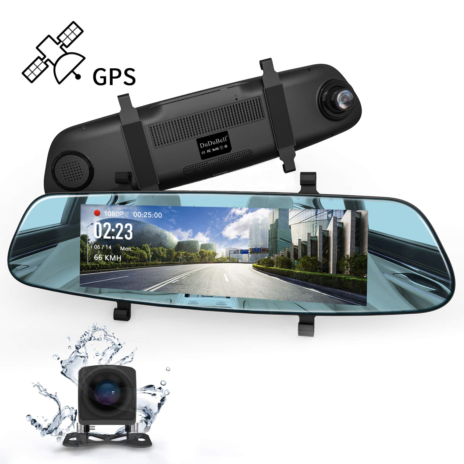 Mirror Dash Cam, DuDuBell 7'' Backup Camera with External GPS, 1080P Front and 720P Rear Camera with Starlight Night Vision IPS Touch Screen 290° Wide Angle, Reverse Assistance Parking Monitor HDR+