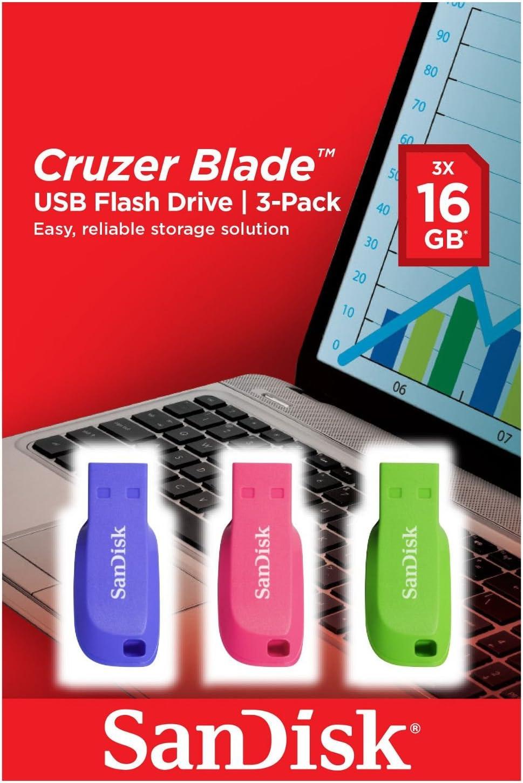 SanDisk Cruzer Blade- Memoria USB 2.0, Pack 3 Unidades de Colores, 16GB: Amazon.es: Informática