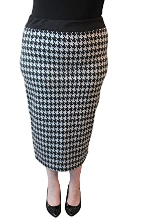 New Womens Dogtooth Wiggle Tube Skirts Ladies Houndstooth Pencil Skirt Plus Size