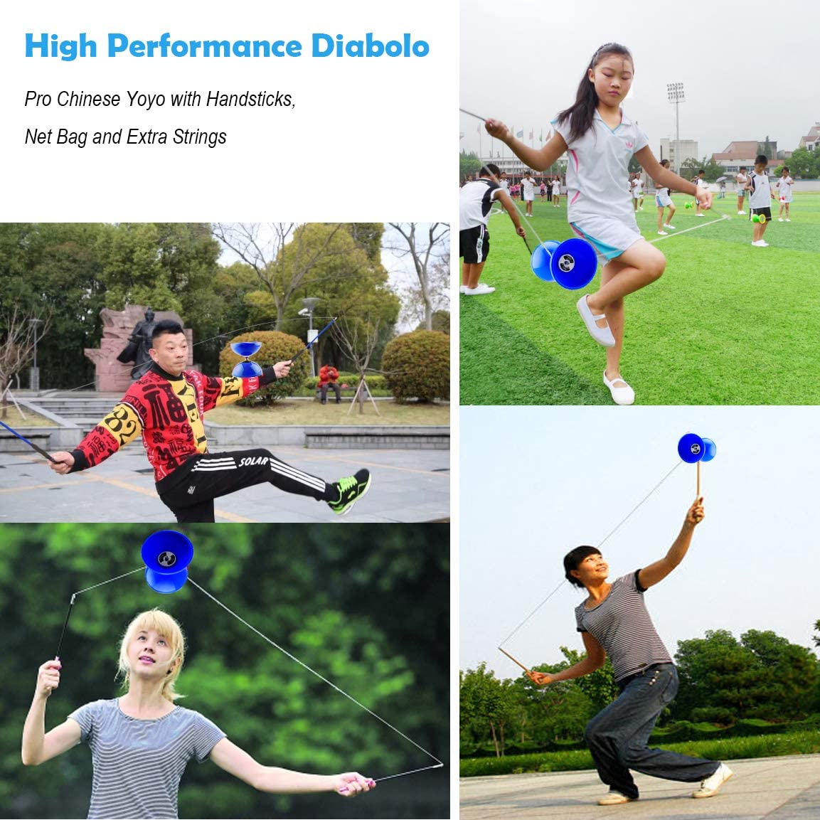 Flight High Performance Diabolo Red Pro Chinese Yoyo with Handsticks Net Bag an