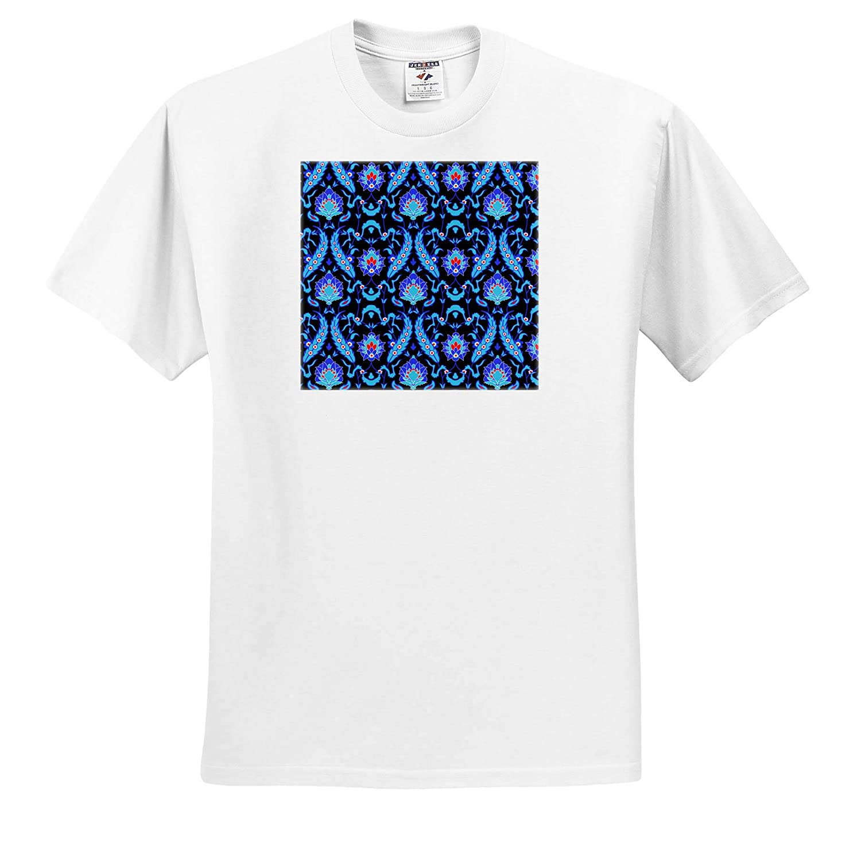 T-Shirts 3dRose Sven Herkenrath Art Fashionable Pattern Blue on Black Background Trendy Work