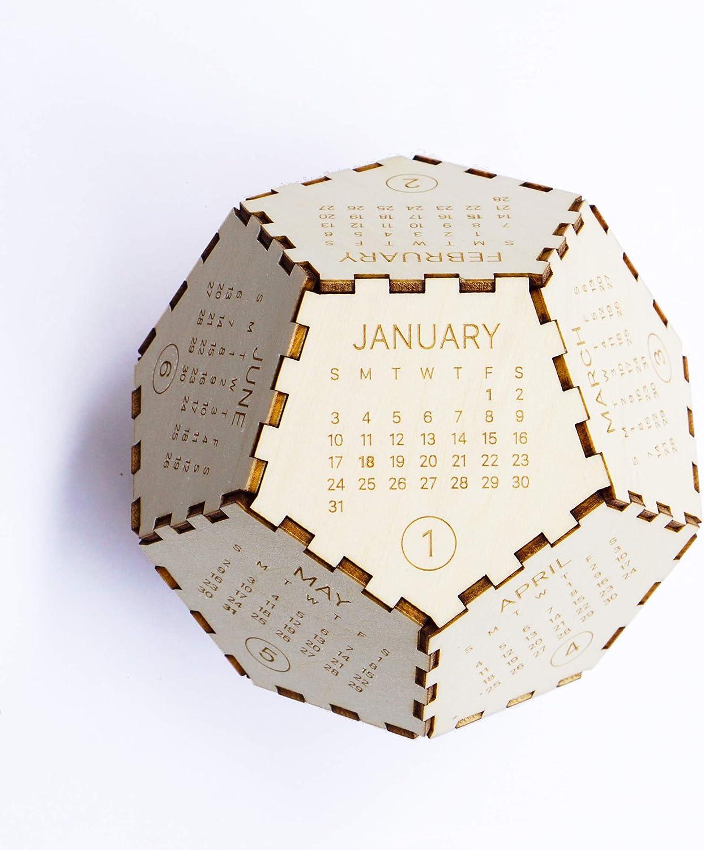 Wooden Desk Calendar 2021, Box Calendar, Office Decor Gift, Puzzle Calendar, Gifts for Christmas, Thanksgiving, New Year Presents, 12 Sided Calendar