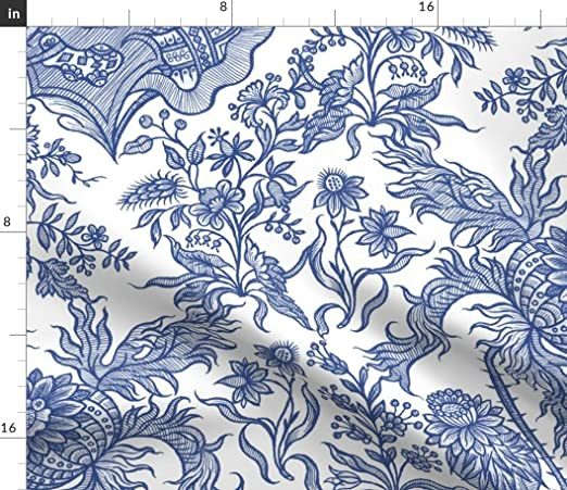 Blue Cotton Floral Printed Designer Light Weight Craft Fabric Sewing By 1 Yard