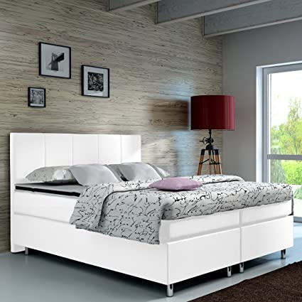 Wohnen-Luxus Cama con somier de 140 x 200 cm, cama de hotel, cama doble, tapizada, cama de matrimonio, cama americana, modelo Madrid tipo 1 (140 x ...