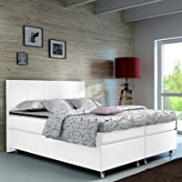 Designer Lederlook Boxspringbett mit Chromleisten Hotelbett Doppelbett Polsterbett Ehebett amerikanisches Bett Chrom Modell Madrid Typ 1