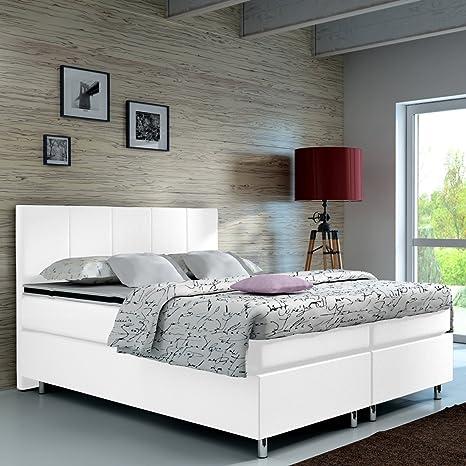 Wohnen-Luxus Diseñador Cama de Aspecto de Piel con somier con Listones de Cromo Hotel