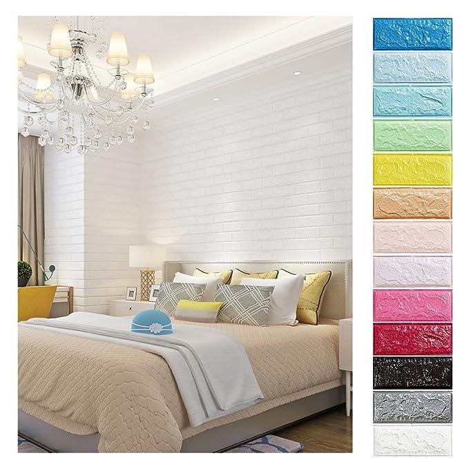 KINLO 10 Stücke Tapete Pattern 70x77x1cm weiß Verdickt selbstlebend Ziegelstein Kinderzimmer 3D modern Wasserdicht Brick aus