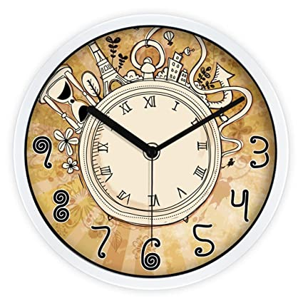 Amazon.com: Ysayc Silence Wall Clock European Creative Cartoon Living Room Bedroom Wall Clock Roman Numerals Wall Clock, 12 inches, White Border: Home & ...