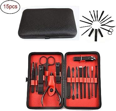 Manicura pedicura kit con estuche de cuero para hombres/mujeres profesión Grooming herramientas juegos de 15,Red: Amazon.es: Salud y cuidado personal