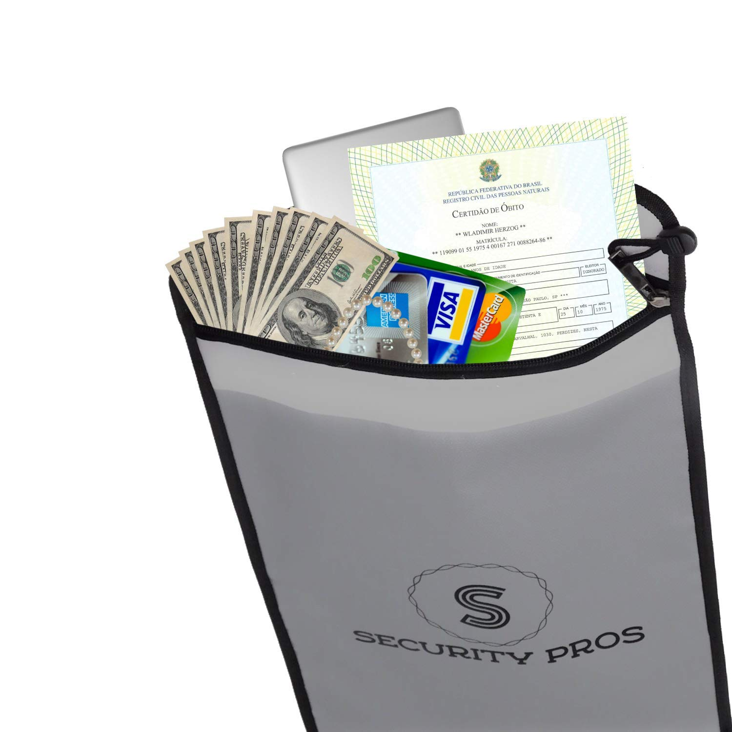 Security Pros Cash Envelope Document Bag 15x11 Non-Itchy Silicone Coated Fire & Water Resistant Bag, Blast Proof for Lipo Batteries, Safe Charging and Storage, Protect Your Money, Documents, Jewelry