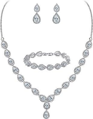 Clearine Damen Hochzeit Braut Tropfen CZ Unendlichekeit Figur 8 Y Halskette Tennis Armband Dangle Ohrringe Set