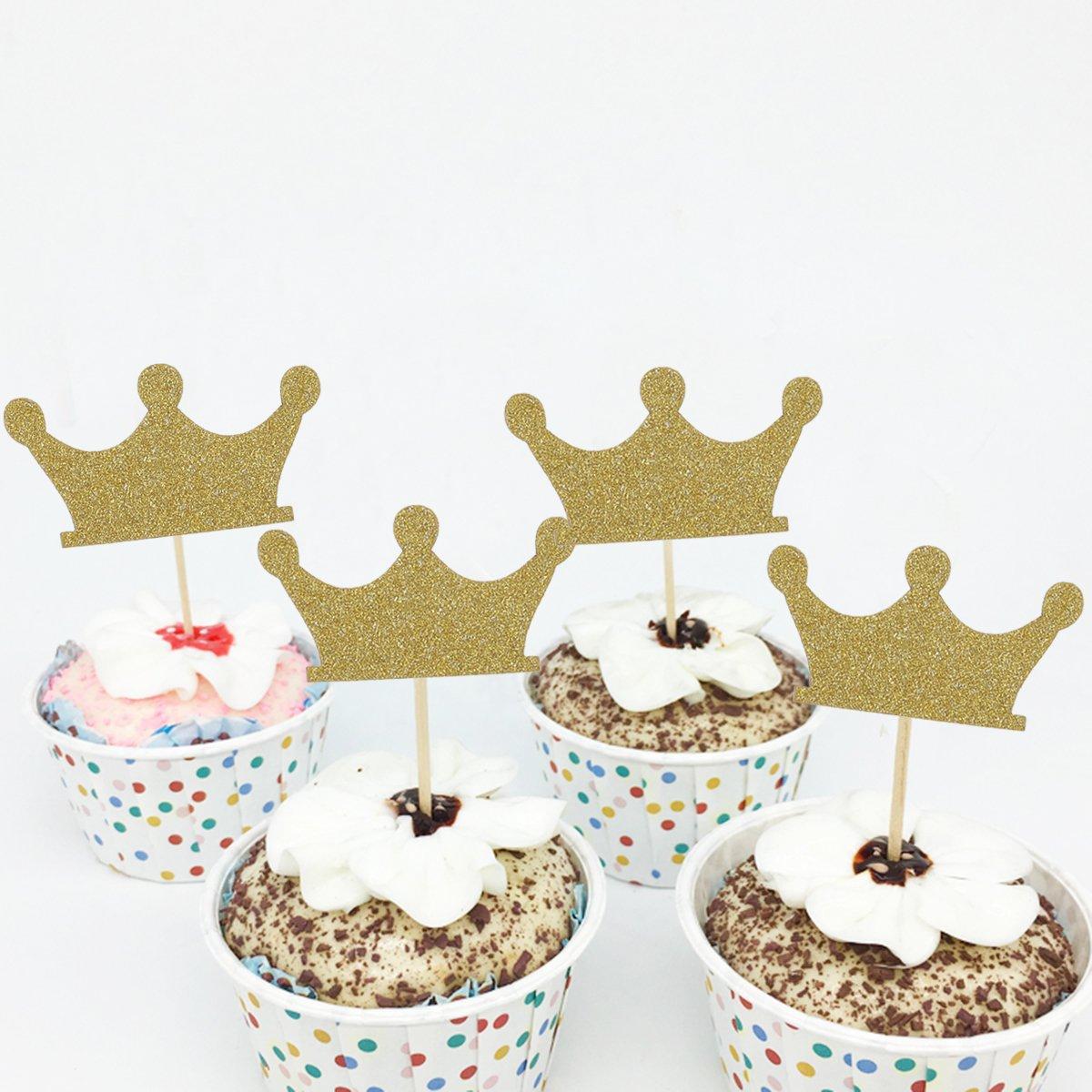 Paillettes dor pour la f/ête danniversaire de mariage Baby Shower Cupcake Topper D/écoration SUPVOX 100pcs Or Couronne Confetti Table Decor